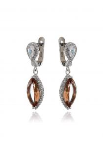 Women silver earrings with zircons and nano sultanite ( chameleon, imitation)